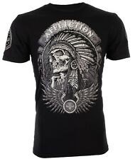 Affliction Mens S/S T-Shirt THUNDERFOOT Indian BLACK Motorcycle Biker S-3XL $58