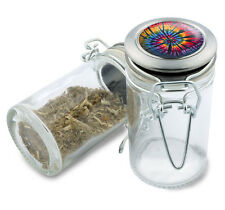 Tie Dye Hippie Wire Top Glass Stash Herb Jar w/ Air Tight Seal & Flip Over Lid