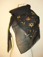 Vintage Desco scarf black hand painted gold bronze flowers leaves shiny