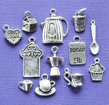 Coffee Break Charm Collection 12 Tibetan Silver Tone Charms FREE Shipping E86