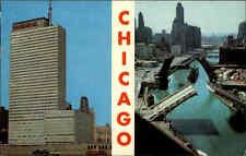 Chicago Illinois AK 1966 Mehrbildkarte Prudential Building River Bridges Brücken