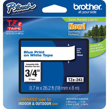 "Brother TZ243 TZe243 18mm 3/4"" inch blue on white TZ P-touch label tape PT2030"