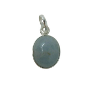 Country Blue Aquamarine Oval PENDANT NEW Sterling Silver 925 Natural Cabochon