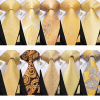 USA Gold Yellow Mens Ties Paisley Solid Floral Silk Necktie Set Woven Wedding
