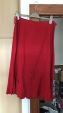 J Taylor Debenhams Red Embroidered Midi Long Skirt 14 ❤️ Casual Cotton Lining