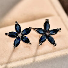 Vintage 925 Silver Five Star Flower Snowflake Blue Sapphire Ear Stud Earrings