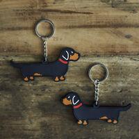 Cute DACHSHUND Dog Keyring, Novelty Gift, PVC Key Ring, Bag Charm, FREE P&P