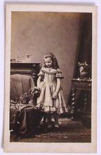 >> RARE Antique CDV Photo Wealthy Girl SCOTTIE DOG  Faulkner Royal PHOTOGRAPHER
