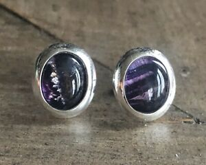 Rare Vintage Style Derbyshire Blue John  Silver Oval Stud Earrings J2104
