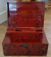 Antique Asian Portable Slanted Lap Desk - Writing Travel Box - Chinese/Japanese