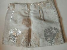 NEW GapKids Girls' Mini Skirt Brocade White Metallic Adjustable Waist Lined 7