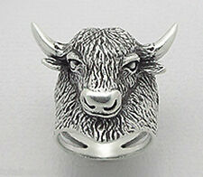 "14.31g Solid Sterling Silver BULL / Horns Taurus Mens Ring 26mm = 1.02"" Size 11"
