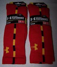 UNDER ARMOUR Performance 2 Pair Heat Gear Crew Socks RED/YELLOW Men's LG - $26