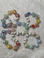 WHITE SATIN 50+ Handmade Glass Lampwork Beads Artisan Multicolored FREE SHIP