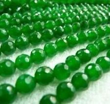 "AAA+ 4 MM Faceted Natural Green Emerald Gemstone Round Loose Beads 15"" #bz07"