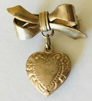 Heart And Bow Gold Style Love Romance Pin Badge Brooch Rare Vintage (G5)