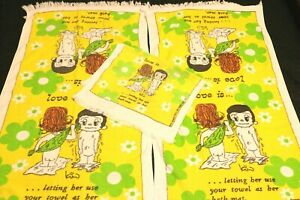 Vintage 1970's 2 Bath 1 Hand Towel Set Love Is Kim Casali Cartoon 1971 LA Times