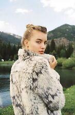 Anthropologie Faux Fur MARRAKECH REVERSIBLE MOTO JACKET SZ Large Gray Grey $180