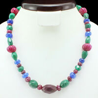 ATTRACTIVE 361.00 CTS NATURAL RUBY, EMERALD & SAPPHIRE BEADS NECKLACE (DG)
