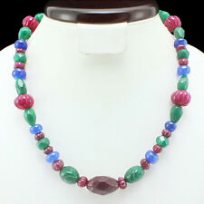 FINEST TOP CLASS 233.50 CTS EARTH MINED 3 LINE RED RUBY /& SAPPHIRE BEAD NECKLACE