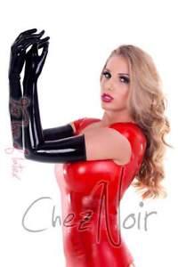 Latex Shoulder Gloves - Unisex - Black or Red - Rubber - Fetish - Gummi