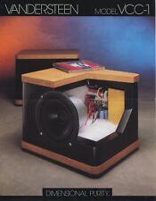 Vandersteen VCC-1 Original Center Speaker Brochure 1995