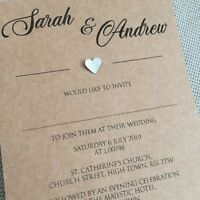 25 Personalised Wedding Evening Invitations Invites Modern Classic Heart Design
