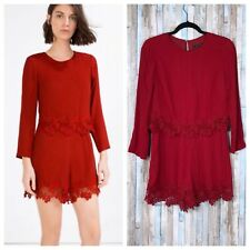Zara S Red Floral Lace Trim Long Sleeve Overlay Crepe Romper Playsuit Shorts $68