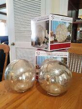 8 Inch Led String Light Mercury Glass Orb New Pair