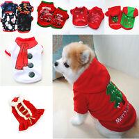Weihnachten Pet Kleidung Wärmer Mantel Hund Katze Hoodie Welpe Overall Weste hg