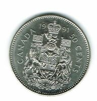 1991 Canadian Brilliant Uncirculated Fifty Cent coin!
