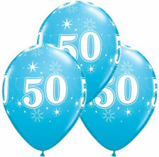 Robins Egg Blue Age 50 Birthday Sparkle Latex Balloons  (6 Supplied)