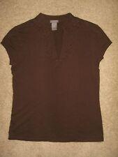 Ann Taylor Mandarin Chinese Collar Brown Cap Sleeve Knit Top Size M 100% Cotton
