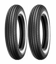 (2) Shinko 5.00-16 Classic 270 Front & Rear White Wall Tire Set Customs Bobbers