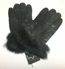 NEW LADIES PLAIN FUR CUFF LEATHER MEDIUM THERMAL GLOVES WINTER COLD WARM DRIVING