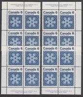 Canada #554 6¢ Christmas Snowflakes Match Set Plate #2 Blocks MNH