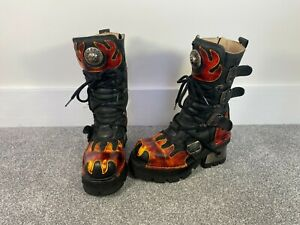 New Rock Black Flame Boots - Goth Leather Shoes RARE Punk Fire Heels 38 Orange