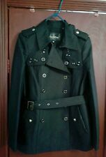 SAM EDELMAN Black double breasted Coat w/leather trim & Studs/Rhinestones Size-M