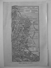 stampa antica OLD PRINT MAP MAPPA ALGERIA ALGIER BELCOURT LE HAMMA 1930