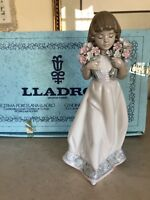 "Lladro SPRING BOUQUETS Collector Society 1987 8"" Tall Excellent! # 7603 In BOX!!"