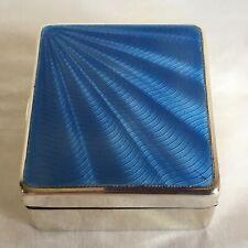 Vintage WN Birmingham Hallmarked Solid Silver Sunburst Blue Guilloche Enamel Box