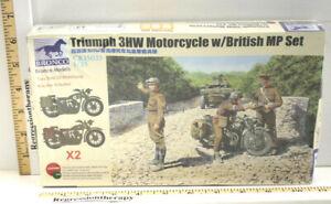 Bronco CB35035 Triumph 3HW Motorcycle w/British MP Set Model 1/35 2009 NIB