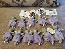3 Inch Tall Purple Ballerina Christmas Hippo Hippopotamus - Lot Of 11 Ornaments