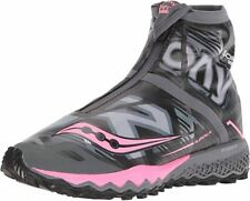 SAUCONY RAZOR ICE + WOMEN'S TRAIL RUNNING SHOES - BLACK / WHITE / PINK