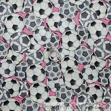 BonEful FABRIC FQ Cotton Quilt Black White Gray B&W Pink SOCCER BALL Girl Sport