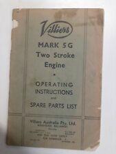 Original Villiers Mark 5G 2stroke Engine Instruction Book, Spare Parts