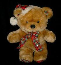 "16"" VINTAGE CUDDLE WIT CHRISTMAS SANTA TEDDY BEAR BROWN STUFFED ANIMAL PLUSH TOY"