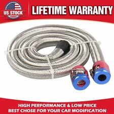 Universal 3/8in Braided Stainless Steel Hoses Fuel Lines Hose Fitting Clamps US
