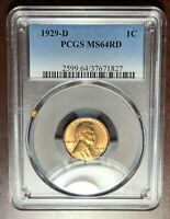 1929 D PCGS MS-64 RED Lincoln Cent Wheat Penny