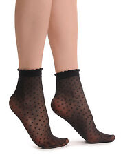 Small Polka Dots And Rounded Trim Top Socks Ankle High 15 Den (SO000364)